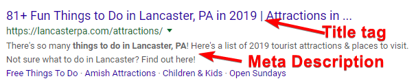 What Title Tag and Meta Descriptions Look Like in Google Search Engine Results Pages (SERPs)